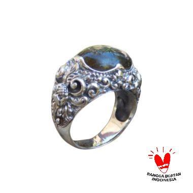 Jnanacrafts Motif Kembang Batu Labradorite Cincin Perak
