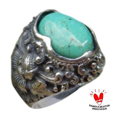 Jnanacrafts Motif Ukiran Bali Patra Batu Torquise Cincin Perak