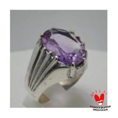 Jnanacrafts Simple Batu Amethys Cincin Perak