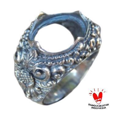Jnanacrafts Motif Ukiran Patra Bali Gagang Cincin Perak
