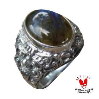 Jnanacrafts Motif Rangda Batu Labradorite Cincin Perak