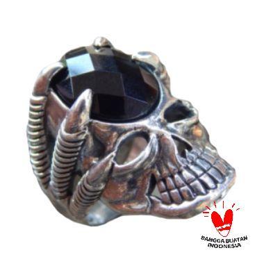 Jnanacrafts Motif Tengkorak Batu Black Onyx Cincin Perak