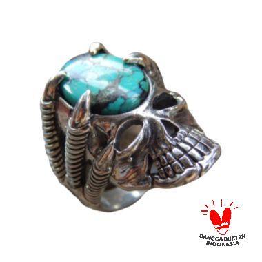 Jnanacrafts Motif Tengkorak Batu Torquise Cincin Perak