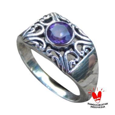 Jnanacrafts Ukir Bali Batu Amethys Cincin Perak