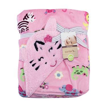 Kalla Carter's Double Fleece Carter Bordir Animal Selimut Bayi - Pink