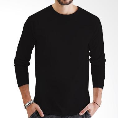 KaosYES Kaos Polos T-Shirt O-Neck Lengan Panjang - Hitam