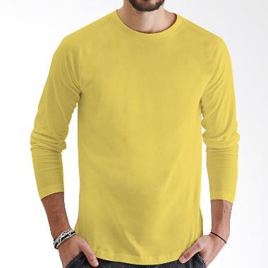 Kaos Polos T-Shirt O-Neck Lengan Panjang - Kuning