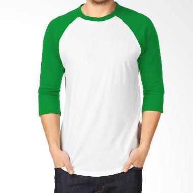 KaosYES Kaos Polos T-Shirt RAGLAN Lengan 3/4 Putih-Hijau