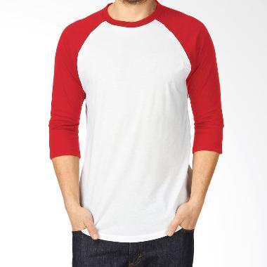 KaosYES Kaos Polos T-Shirt RAGLAN Lengan 3/4 Putih-Merah