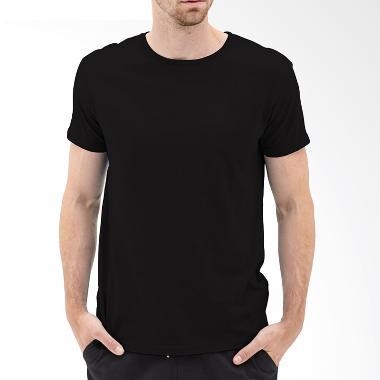 KaosYES Kaos T-Shirt Polos O-Neck Lengan Pendek - Hitam