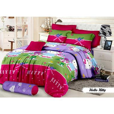 Khawla Disperse Hello Kitty Set Sprei dan Bed Cover