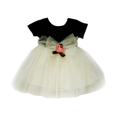 Korea Pink Flower Tile Dress Anak - Black White