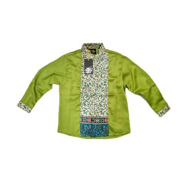 Little Superstar Shirt 2 Tone Ls Batik Koko Anak - Green Cream