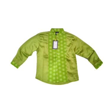 Little Superstar Shirt 2 Tone Ls Batik Koko Anak - Green
