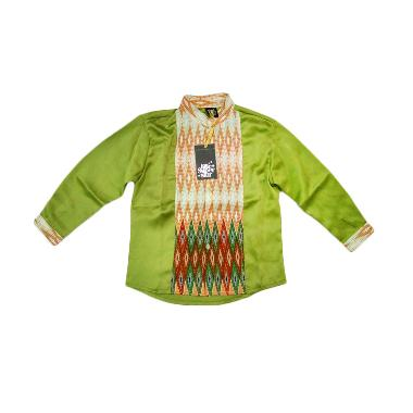 Little Superstar Shirt 2 Tone Ls Batik Koko Anak - Green Orange