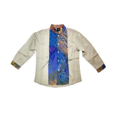 Little Superstar Shirt 2 Tone Ls Batik Koko Anak - Grey Blue