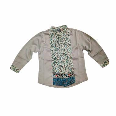 Little Superstar Shirt 2 Tone Ls Batik Koko Anak - Grey Cream