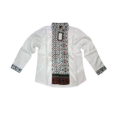 Little Superstar Shirt 2 Tone Ls Batik Koko Anak - White Grey