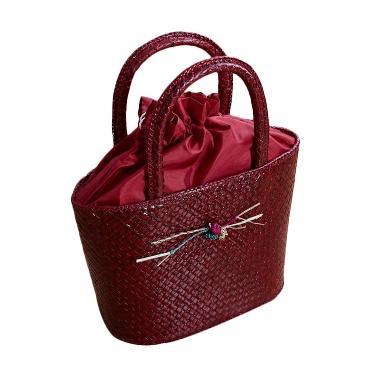 Loe'Style Tas Anyaman Hand Bag - Merah