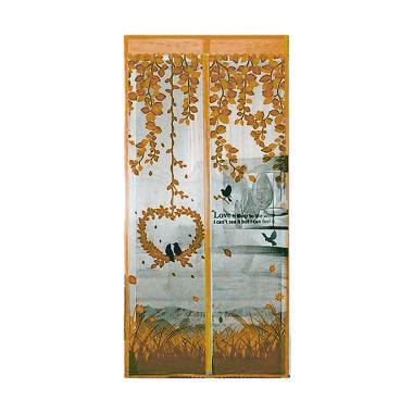 Tirai Magnet Motif LOVEBIRD Coklat 90 x 200