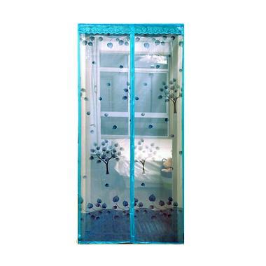 Lotusshops Pohon Elegant Tirai Pintu Magnet - Biru