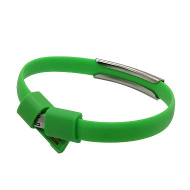 M-Tech Gelang Micro USB Hijau Cable Charger