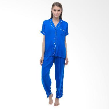 Madeleine Piyama Electric Long Pajamas Baju Tidur - Blue