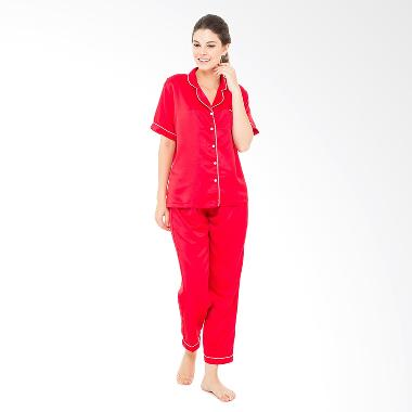Madeleine's Silk Long Pajama Set - Red