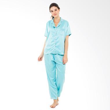 Madeleine's Silk Long Pajama Set - Turquoise