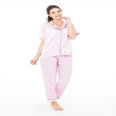 Madeleine's Silk Long Pajama Set - Pink