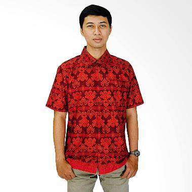 Mayura Batik Motif Tenun Windu Kemeja Batik Pria - Maroon