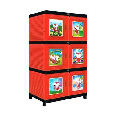 New JOFER Merah Lemari Plastik [3 S ...
