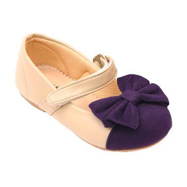 Minetha Kid Shoes Marla Kulit Imitasi Krem Sepatu Anak Perempuan