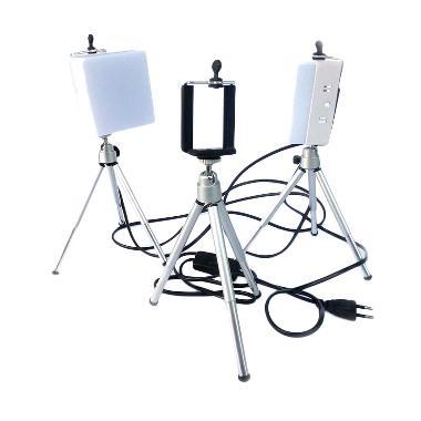 MMS Paket Lampu Mini Studio LED Dif ... round + Tripod Smartphone