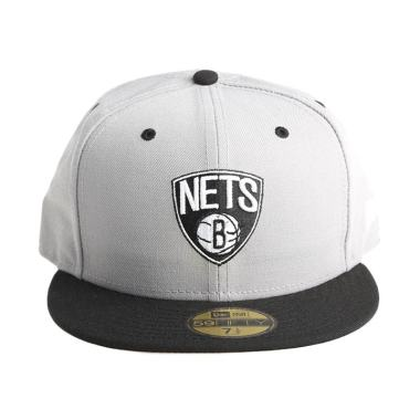 New Era NBA Brooklyn Nets 59FIFTY Abu-Abu Hitam Topi Basket (70150143)