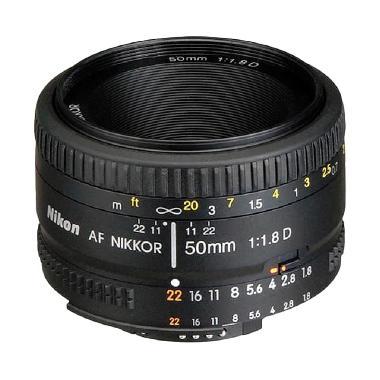 Nikon AF 50mm f/1.8D Lensa Kamera for Nikon DSLR - Hitam