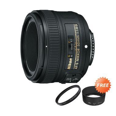 Nikon AF-S 50mm f/1.8G Lensa Kamera + UV Filter 58 mm + Lenshood HB-47