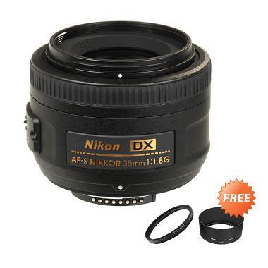 Nikon AF-S DX 35mm f/1.8G Lensa Kam ... ter 52mm + Lenshood HB-46