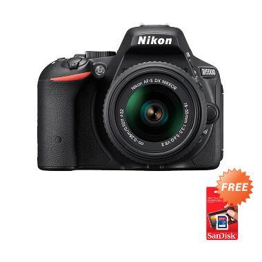 Nikon D5500 Kit 18-55mm VR II Kamera DSLR - Hitam [24.2 MP] + Free Screen Guard + SDHC 16GB + Filter UV 52mm