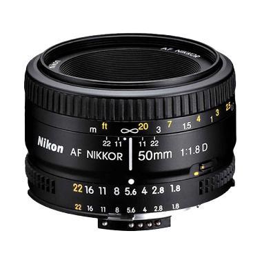 Nikon Nikkor AF 50mm f/1.8D Hitam Lensa Kamera