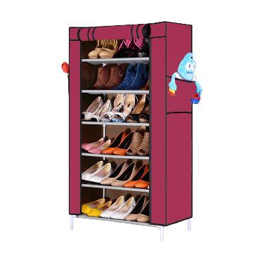 Nine box Rak Sepatu - Pink [7 Cover/6 Tingkat]