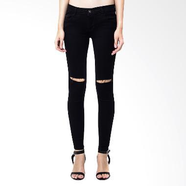 Nuber Ladies Tattered Soft Jeans Fit Celana Panjang Wanita - Black