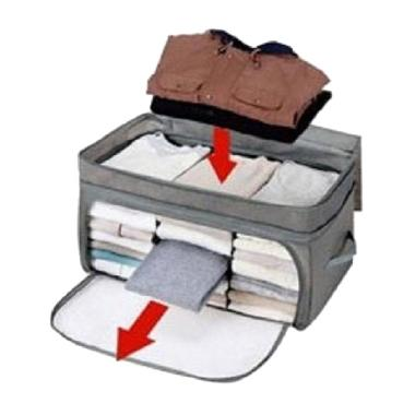 OEM Foldable Cloth Organizer 3 Window Storage Abu-abu