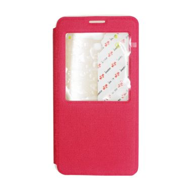 IMO Fresh Leather Flip Case Merah Casing for Samsung.