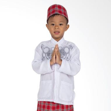 Orange Koko Panjang Putih Baju Muslim Anak