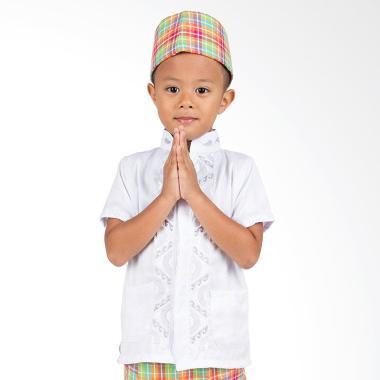 Orange Koko Pendek Putih Baju Muslim Anak