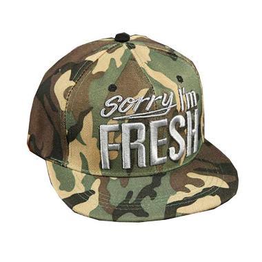 Ormano Baseball Snapback Hip Hop Cap Sorry I'm Fresh Topi - Hijau Army