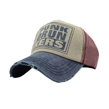 Ormano Baseball Snapback Hip Hop Punk Drunkers Topi - Merah Biru
