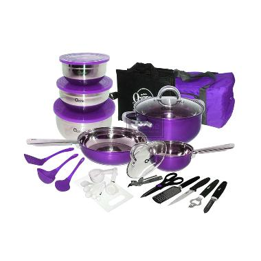 Oxone OX 993 Oxone Travel Cookware Set Panci - Ungu [33 pcs]