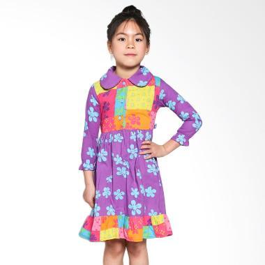 Patchwork L02 Kids Flower Lengan Panjang Dress Anak - Purple